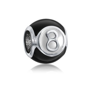 Bling Jewelry Magic Number 8 Charm Ball 925 Silver Inspirational Lucky Birthday or Team Number Bead