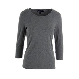 Jones New York Womens Solid Long Sleeves Pullover Top