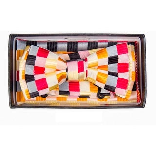 Boy's Multi Color Checkered Pre-tied Adjustable Bow Tie With Hanky - One size