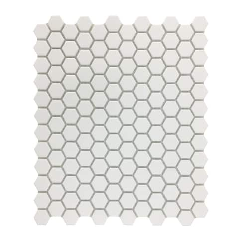 White Matte Porcelain Mosaic Hexagon Floor Wall Tile 1 Tile Sheet 10.25 x 11.8