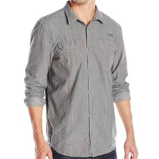 Buffalo David Bitton NEW Gray Men Large L Dot Stripe Button Down Shirt