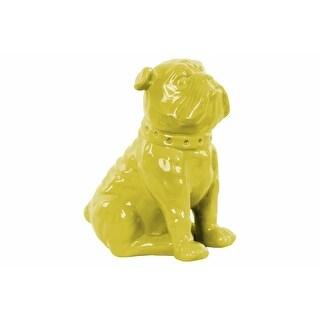 Ceramic Sitting British Bulldog Figurine with Collar, Glossy Yellow