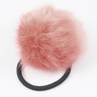 Peach Pink Plush Ball Decor Hair Tie Ponytail Holder for Lady
