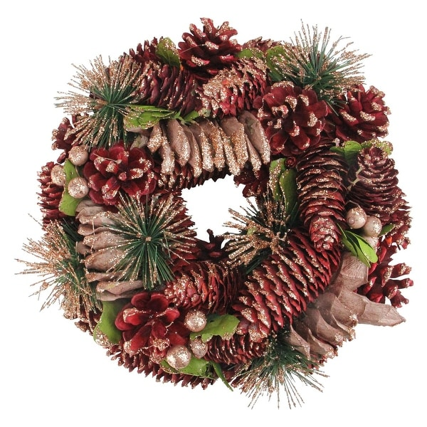 """10.25"""" Dusty Rose Pine Cones and Berries Artificial Christmas Wreath - Unlit - brown"""
