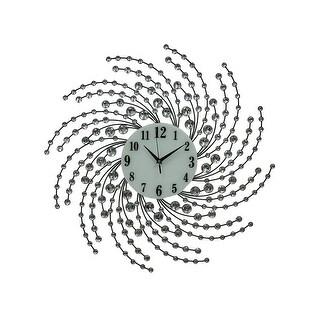 Sparkling Swirls Jeweled Radial Flower Glass Wall Clock 24 inch