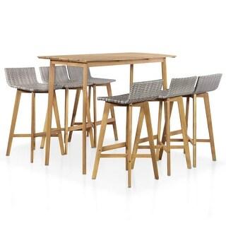 vidaXL Solid Acacia Wood Outdoor Bar Set 7 Pieces Poly Rattan Brown And Gray