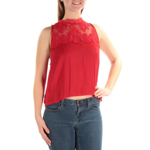 c7bbf7a203 Shop FREE PEOPLE Womens Red Lace Pajama Top Sleeveless Crew Neck Trapeze  Intimates Top Size: M - Free Shipping On Orders Over $45 - Overstock -  21351734
