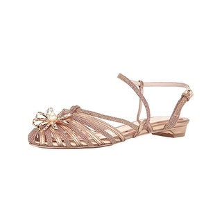 Ted Baker Womens Arunn Pointy-Toe Flats Metallic Embellished