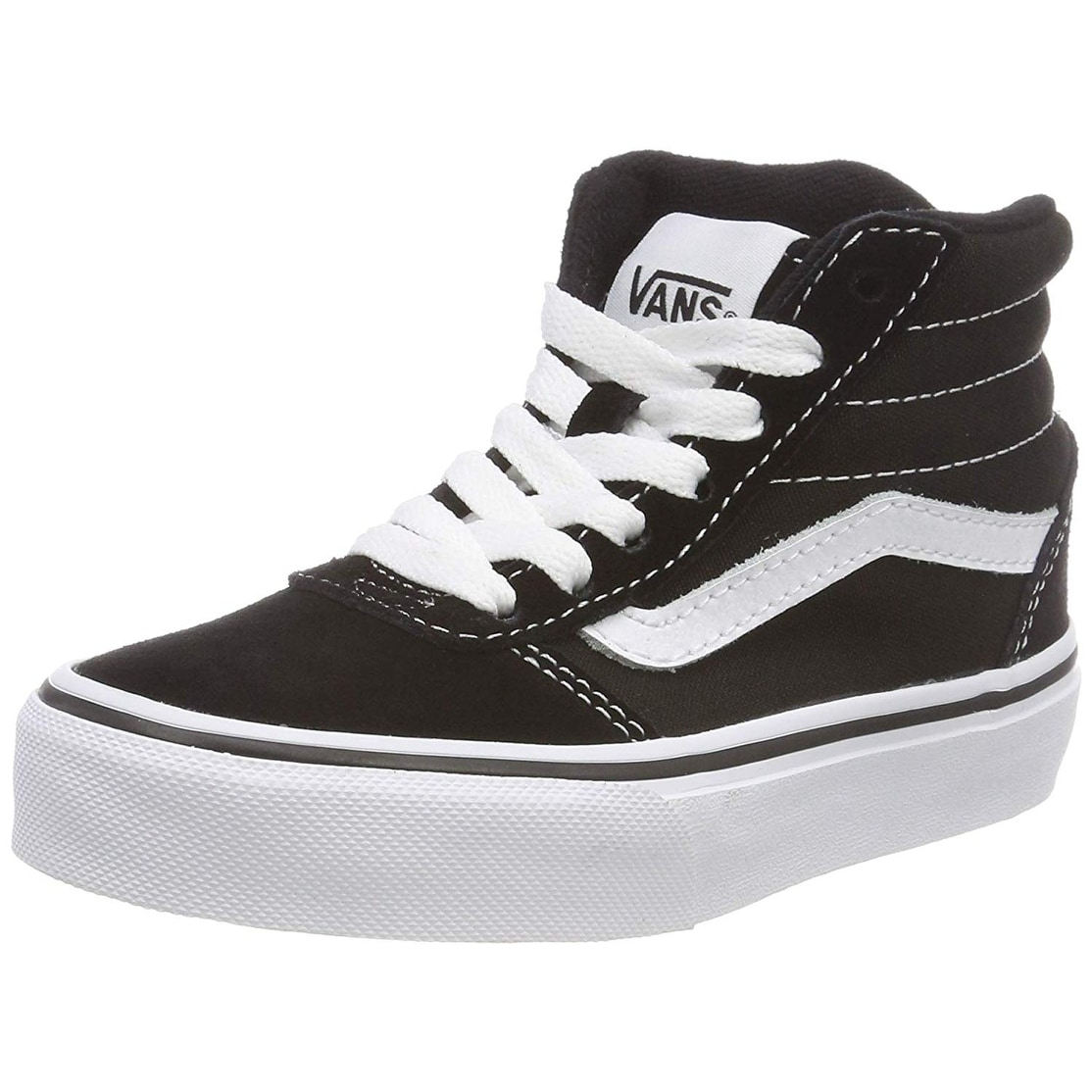 Vans Ward Hi Round Toe Canvas Skate Shoe, Black White, Size 7 Big Kid M