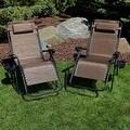 Sunnydaze Dark Brown Oversized Zero Gravity Lounge Chair, Set of 2 - Thumbnail 1