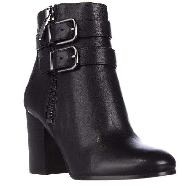 Via Spiga Briella Double Strap Buckle Ankle Boots, Black - 5.5 us / 35.5 eu