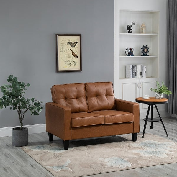 """HOMCOM 51"""" Wide Double Sofa with Armrest, 2-Seater Tufted PU Leather and Pocket Spring Sponge Padded Cushion, Brown. Opens flyout."""