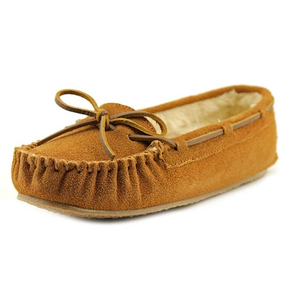 Minnetonka Kayla Slipper Women Suede Tan Moccasins