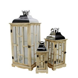 Set of 3 Country Rustic Light Brown Wooden Lanterns with Silver Handles 30.5""