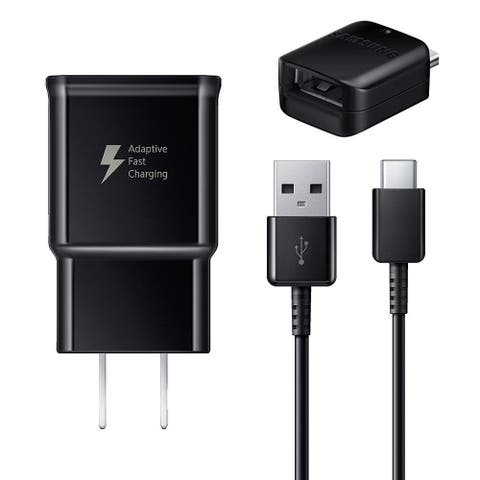 Samsung Wall Fast Charger USB Type C 6ft Cable for Galaxy S9 and S9 Plus Includes OTG Adapter- Black