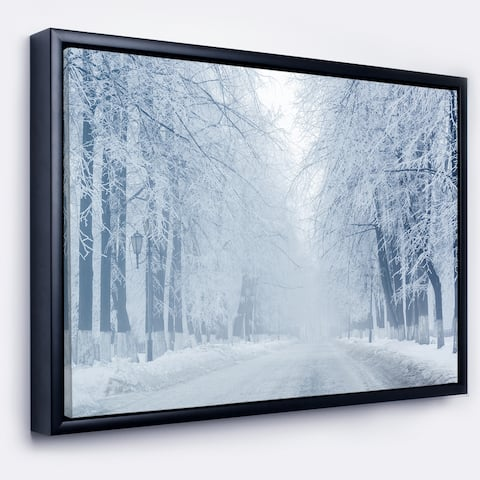 Designart 'White Road and Winter Trees' Landscape Photography Framed Canvas Print