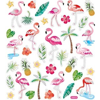 Multicolored Stickers-Flamingos