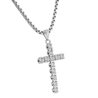 Solitaire Cross Pendant Silver Tone Lab Diamonds Stainless Steel Necklace