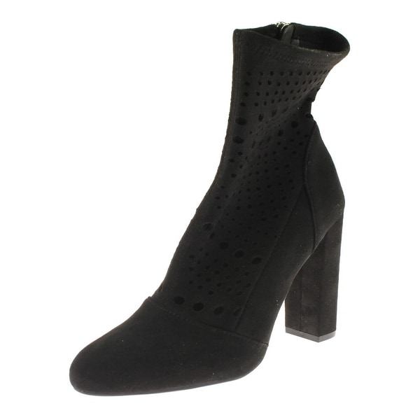 Steve Madden Womens Ennie Ankle Boots Faux Suede Perforated