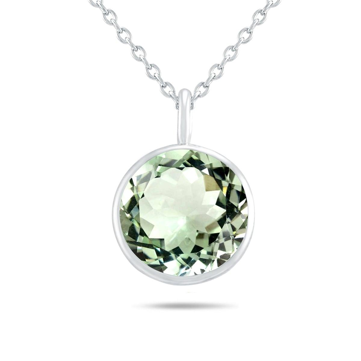 Natural Green Amethyst pear cut pendant in 925 silver
