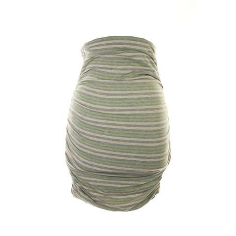 Studio M Grey Multi Stripe Ruched Skirt XS