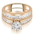 14K Rose Gold 2.05 cttw. Channel Set Princess Cut Diamond Bridal Set HI,SI1-2 - Thumbnail 0