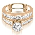14K Rose Gold 2.55 cttw. Channel Set Princess Cut Diamond Bridal Set HI,SI1-2 - Thumbnail 0