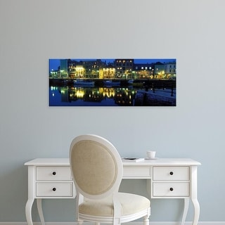 Easy Art Prints Panoramic Image 'Buildings at waterfront lit up at dusk, Barbican, Plymouth, Devon, England' Canvas Art