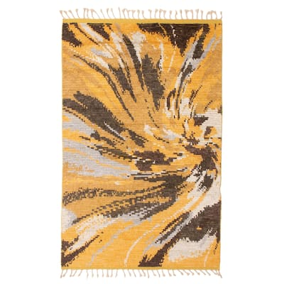 ECARPETGALLERY Hand-knotted Tangier Light Gold, Orange Wool Rug - 5'3 x 7'9