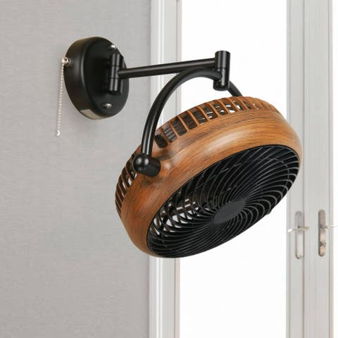 Industrial Walnut Finish 8 Inches Wall Mount Fan