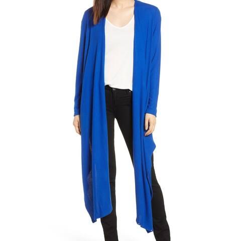 Gibson Blue Women's Size XL Cardigan Longline Solid Knit Sweater
