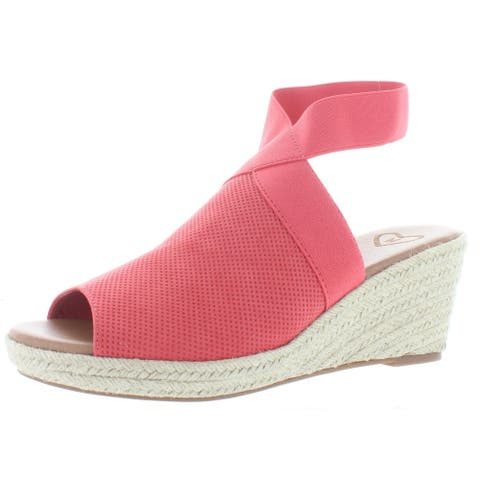 Madeline Womens Sunny Day Wedge Sandals Faux Leather Espadrille