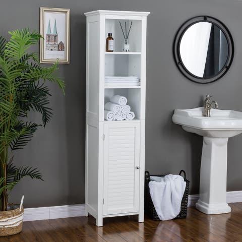 Glitzhome 5.5FT Modern White 3 Tier Floor Linen Tower Cabinet