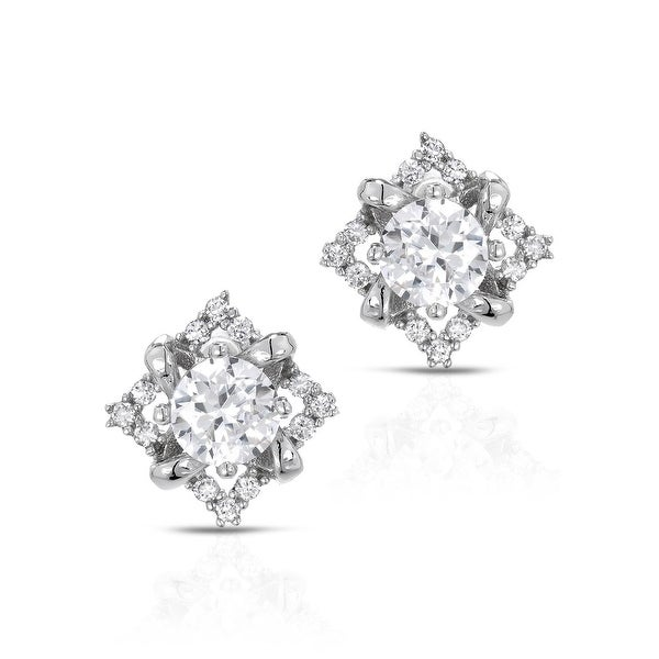 Mcs Jewelry Inc STERLING SILVER 925 SQUARE EARRINGS WITH STONE IN THE MIDDLE WITH CUBIC ZIRCONIA 9.5MM