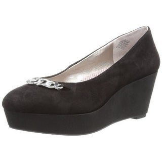 Easy Spirit Womens Brassie Leather Closed Toe Wedge Pumps