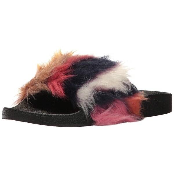 Steve Madden Womens Softey Faux Fur Open Toe Casual Slide Sandals