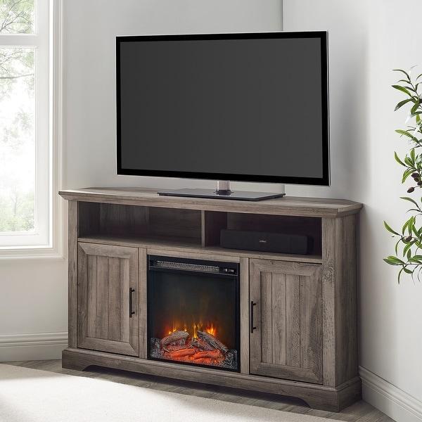 The Gray Barn Wind Gap Groove Door Corner Fireplace TV Stand. Opens flyout.