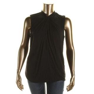 Lauren Ralph Lauren Womens Plus Tank Top Twist Neck Solid