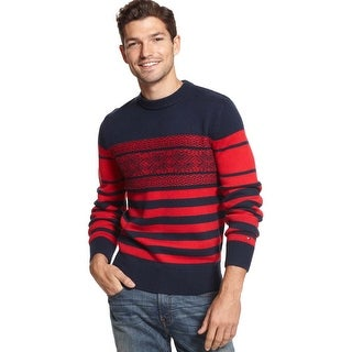 Tommy Hilfiger Cabot Fair Isle Crewneck Sweater Bar Red and Navy XX-Large