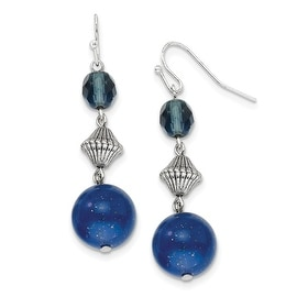 Silvertone Blue Crystal Bead Cluster Drop Earrings