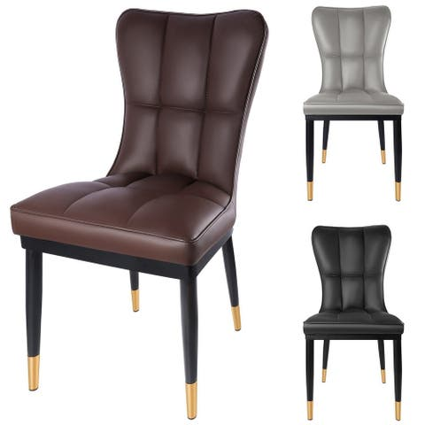 Contemporary Faux Leather Upholstered Parsons Dining Chair (Set of 2) - 16.1 x 17.3 x 35.4