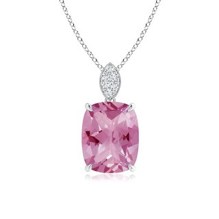 Angara Cushion Cut Pink Tourmaline Solitaire Pendant with Diamond Bail