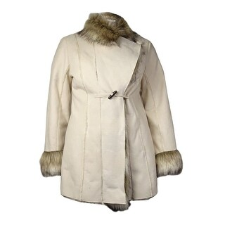 INC International Concepts Women's Faux-Shearling Mid-Length Coat (L, Oyster) - Oyster