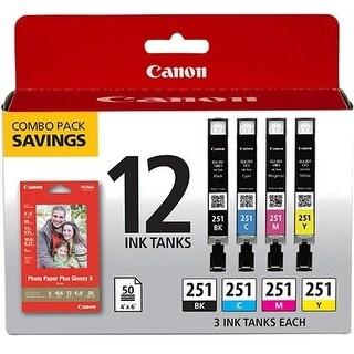 Canon 6513B010 Canon Ink Cartridge - Cyan, Magenta, Yellow, Black - Inkjet - 12 / Pack