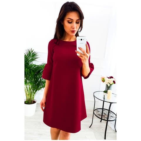 Loose Solid Color Round Neck Horn Sleeve Five Sleeves Dresses