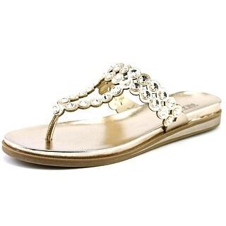 Kenneth Cole Reaction Net Across Women Open Toe Leather Gold Thong Sandal