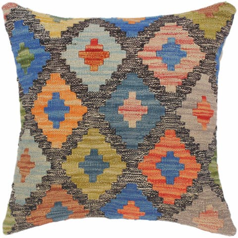 Bauhaus Jona Hand-Woven Turkish Kilim Throw Pillow 18 in. x 18