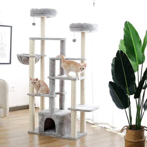 Large Cat Tree Activity Center Plush Condo Multi-levels - Grey