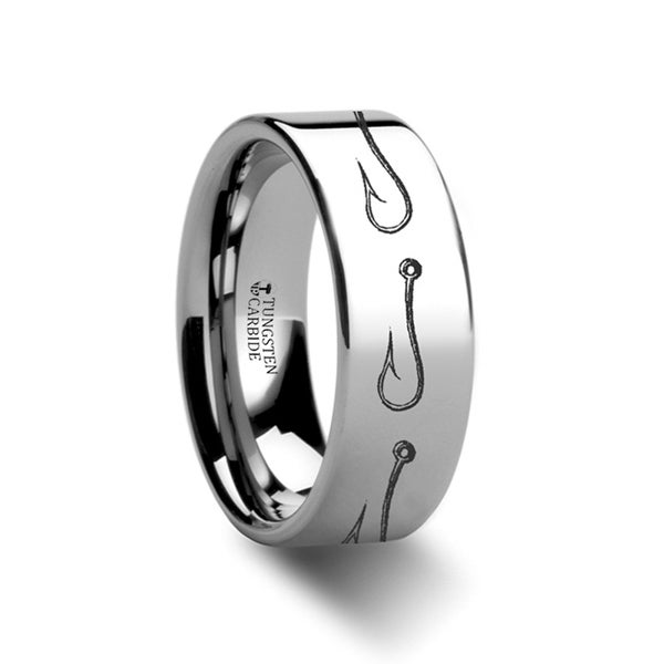 THORSTEN - Simple Artistic Fishing Hook Pattern Ring Engraved Flat Tungsten Ring - 12mm