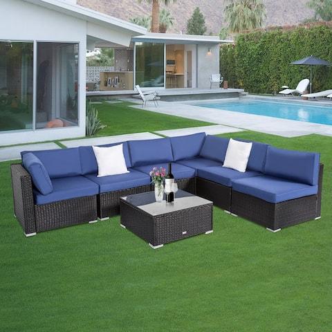 Kinbor Outdoor Cushioned Wicker Sectional Sofa Set